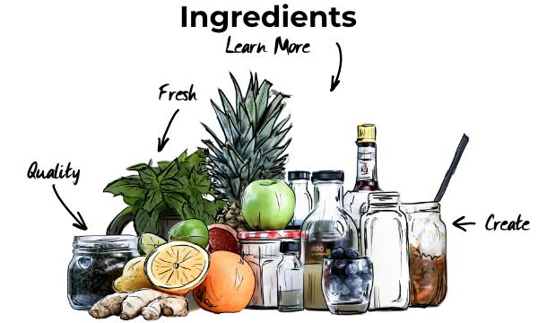 Ingredients for cocktails