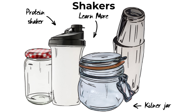 Cocktail equipment. Shakers to make cocktails at home.